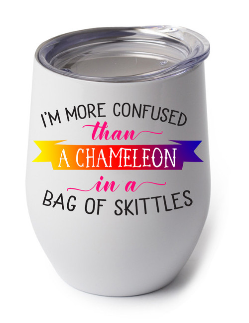 Confused Chameleon design on the wine cup