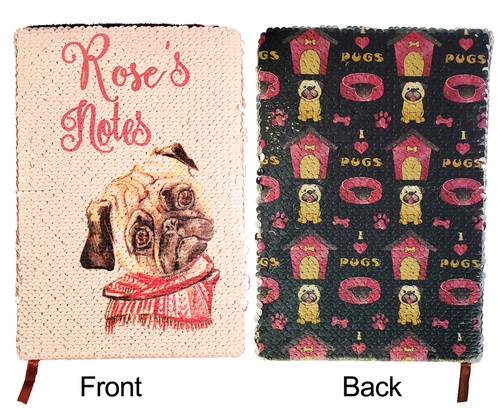 Pug design with the name shown in the Nouradilla font