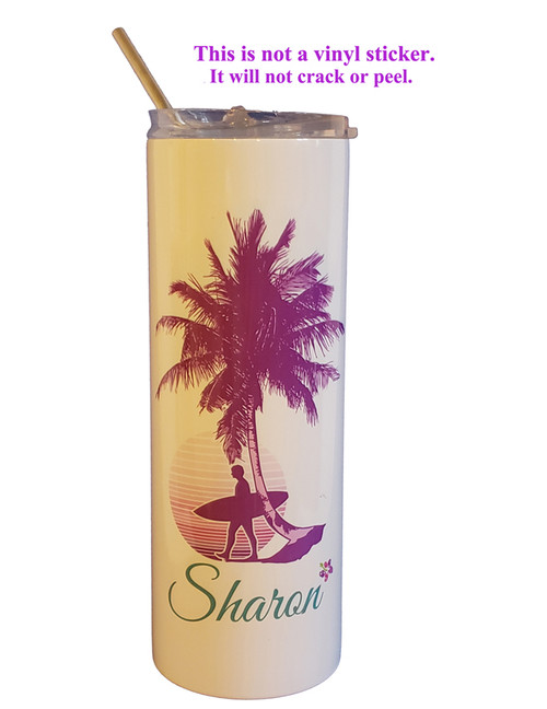 Surfer Sunset shown in purple color scheme - Name shown in the Great Vibes font