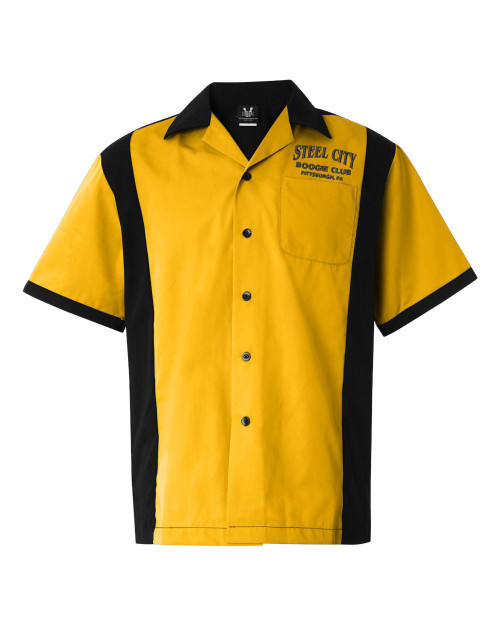 Shown in gold and black with small logo over the pocket.