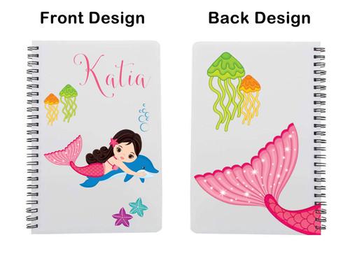 Pink mermaid with dark hair