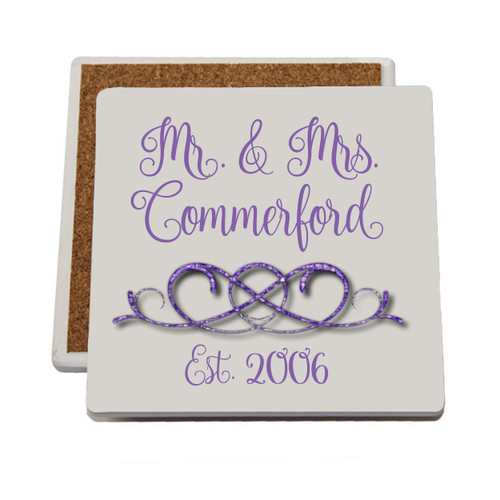 Personalized Coasters shown in the Nouradilla font