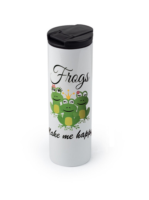 Tumbler with Frogs Make Me Happy design
