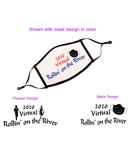 Shown with mask design in red and blue.