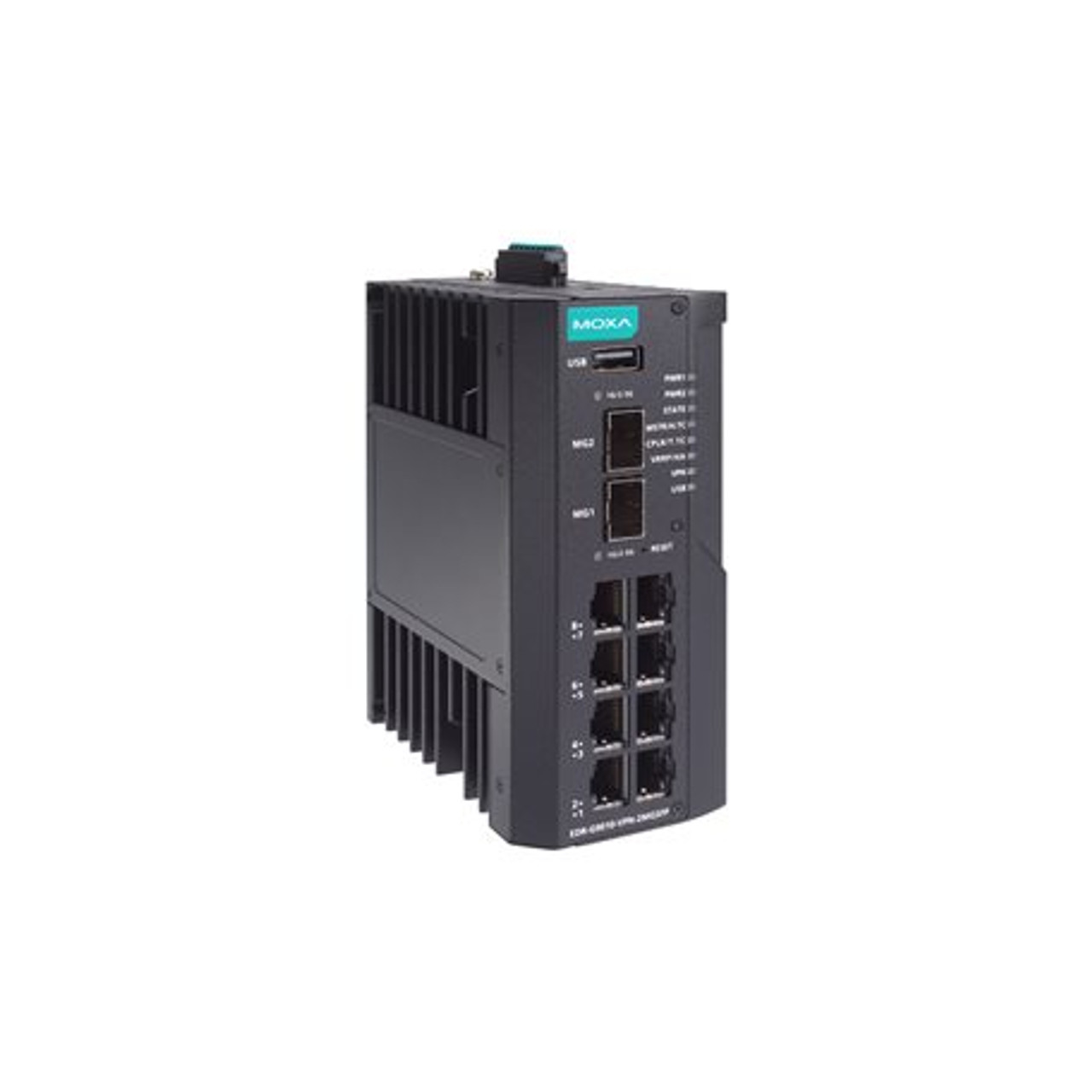 Moxa EDR-G9010-VPN-2MGSFP-T Industrial Secure Router Switch with 8 10/100/1000BaseT(X) ports, 2 1/2.5GbE SFP slots, Firewall/NAT/VPN, -40 to 75°C