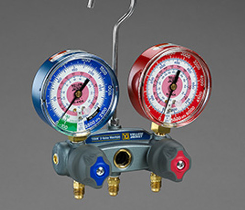 bar//psi Yellow Jacket 46010 Brute II 4-Valve Manifold with Red//Blue Gauges R-22//404A//410A