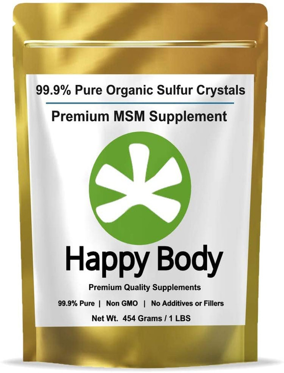 Happy Body Pure Organic Sulfur Crystals for Joint Health MSM Supplement