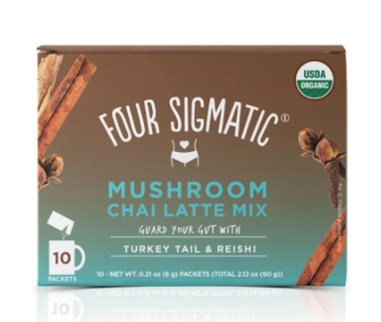Four Sigmatic Mushroom Chai Latte Mix Turkey Tail & Reishi (Box of 10 Packets).