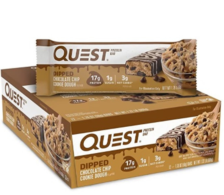 Quest Dipped Bar Chocolate Chip Cookie Dough - Box of 12