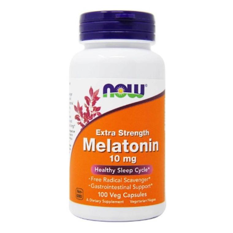 NOW Extra Strength Melatonin 10mg 100 Capsules For Healthy Sleep Cycles, Deep Sleep, REM Sleep, Improved Circadian Rhythm