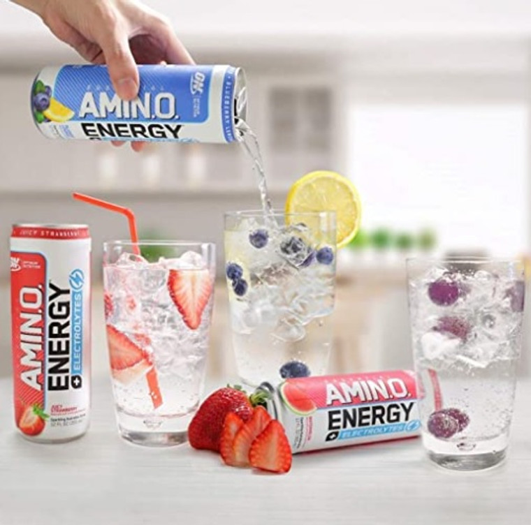 ON Amino Energy RTD Electrolytes Drink 355mL Strawberry, Blueberry Lemonade, Watermelon.