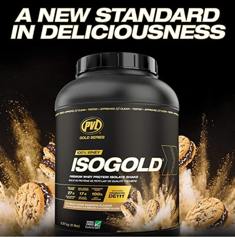 PVL Isogold 5lbs  Whey Protein Isolate Ice Cream Cookie Sandwich  Flavour Iso-gold Iso Gold Lactose Free Grass Fed Whey.