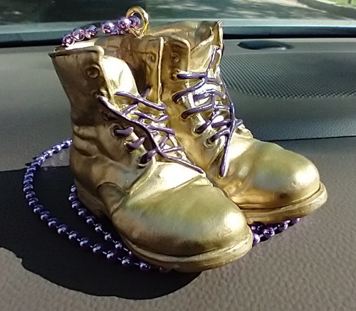Omega Psi Phi Mini Gold Boots for Rearview or Neck