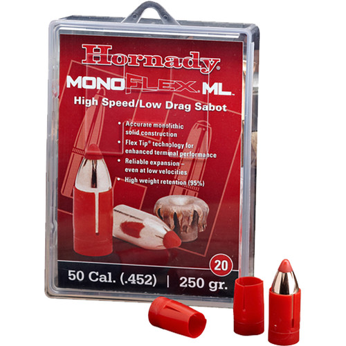 Hornady Muzzleloading Sabots With Bullets 50 Cal. 250 Gr. Monoflex Low Drag 20 Rd.