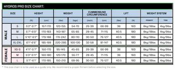 Scubapro Hydros Pro BCD - Size Chart