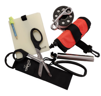 Dive Gear Accessory Package - Dive Reel, Dive Slate, Sea Snips, Surface Marker Buoy, Underwater Rattle