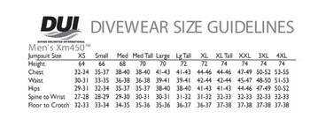 DUI XM450 Jumpsuit - Size Chart