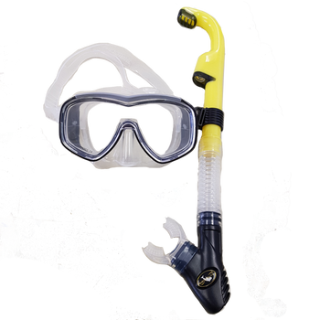 Barracuda Semi-Dry Snorkel Set - Yellow/Black