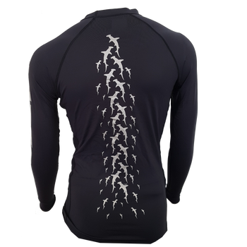 Men's Black Hammerhead Rashguard - Back