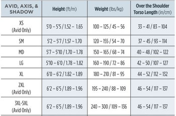 Sherwood Avid BCD - Size Chart