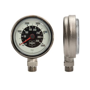Pressure Gauge - Brass & Glass Dual PSI/BAR