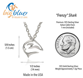 Sterling silver mini shark pendant necklace perfect gift for your dive buddy