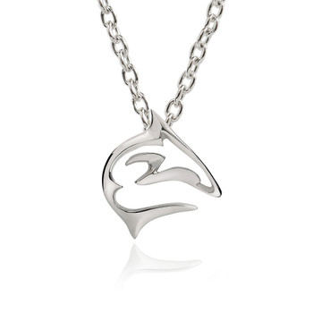 Sterling silver mini shark pendant necklace