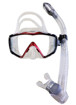 Eagle Ray Dry Snorkel Set - Red