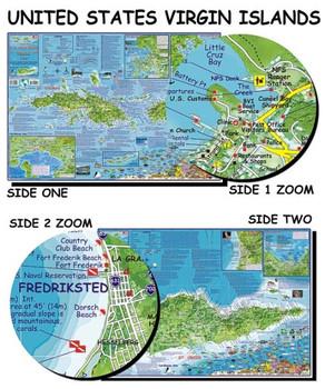 Waterproof Map with Dive Sites - US Virgin Islands