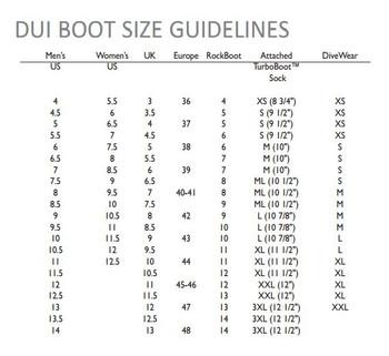 DUI XM450 Socks - Size Chart
