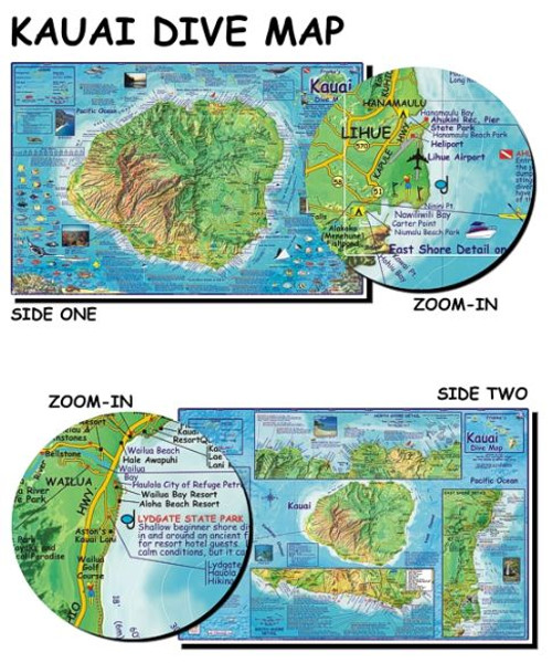 Waterproof Dive Site Map - Kauai Hawaii