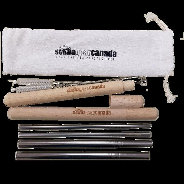 Reusable stainless steel straws set