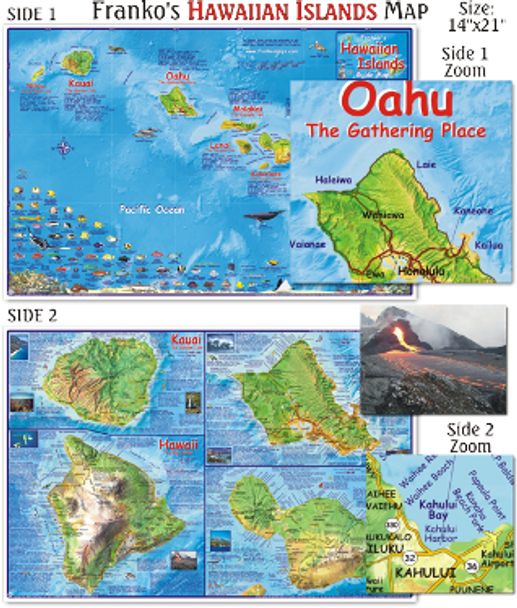 Waterproof Dive Site Map - Hawaiian Islands