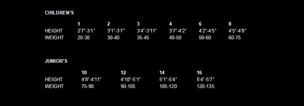 Child Shorty Wetsuit - Size Chart