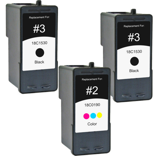 3 Pack - Remanufactured replacement for Lexmark #2 and Lexmark #3