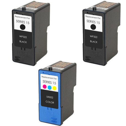 3 Pack - Remanufactured replacement for Dell series 15 ink cartridges