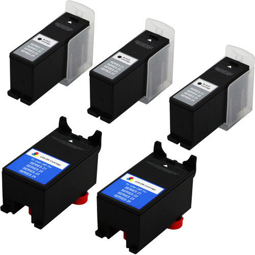 5 Pack - Compatible replacement for Dell series 21 / 22 ink cartridges