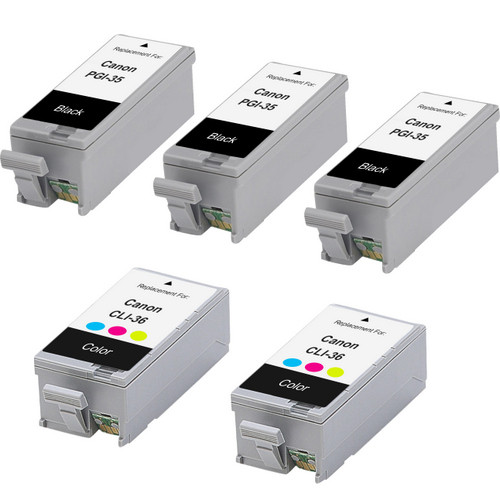5 Pack - Compatible replacement for Canon PGi-35 and Cli-36 series ink cartridges