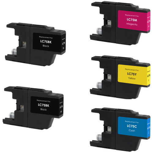 5 Pack - Compatible replacement for Brother LC75 series ink cartridges