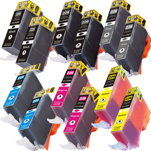 12 Pack - Compatible replacement for Canon PGi-225 and Cli-226 series ink cartridges