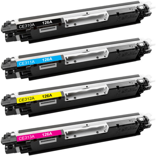 4 Pack - Compatible replacement for HP 126A series laser toner cartridges (CE310A, CE311A, CE312A, CE313A)