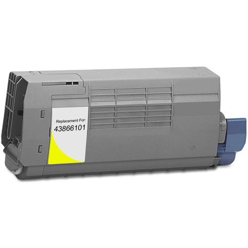 Compatible replacement for Okidata 43866101 yellow laser toner cartridge