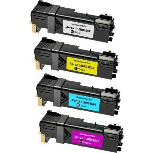 Compatible replacement for Xerox 106R01597 series laser toner cartridges Includes 1 black, 1 cyan, 1 magenta and 1 yellow laser toner cartridge