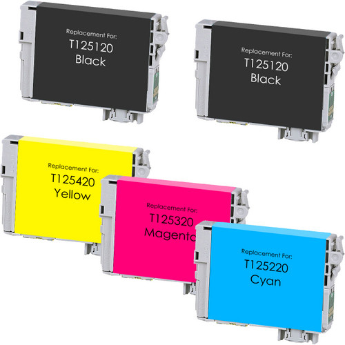 5 Pack - Remanufactured replacement for Epson T125 series ink cartridges