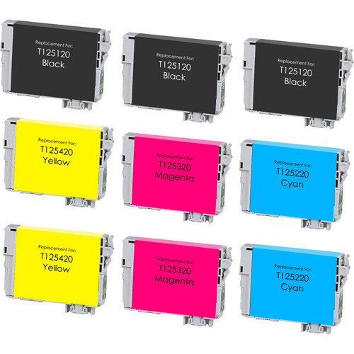 9 Pack - Remanufactured replacement for Epson T125 series ink cartridges