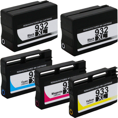 5 Pack - Remanufactured replacement for HP 932XL series ink cartridges