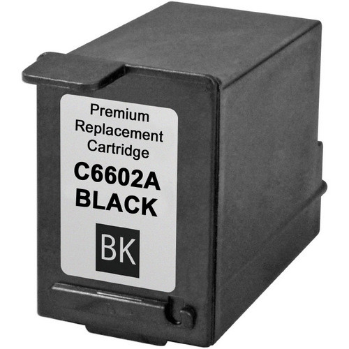 Remanufactured replacement for HP C6602A black ink cartridge