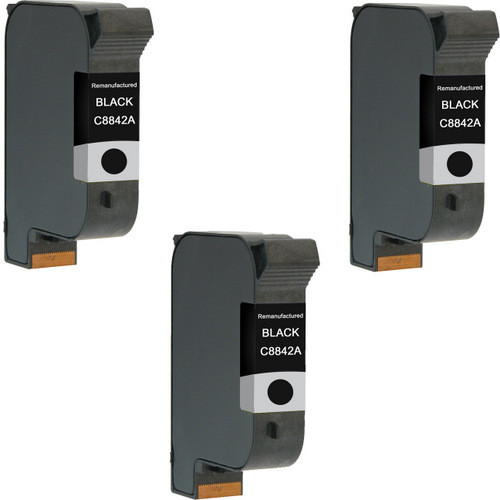 Tri-Pack - Remanufactured replacement for HP C8842A black ink cartridges