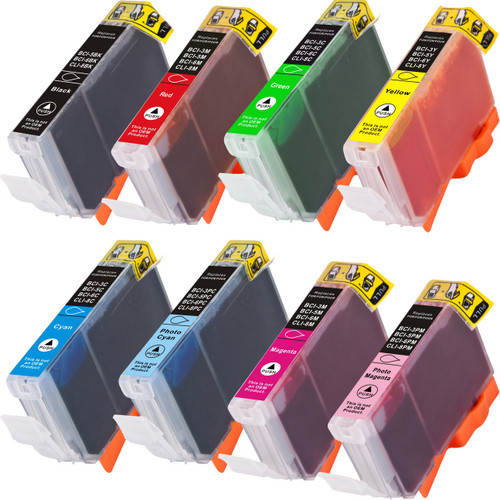 - 8 Pack - Compatible replacement for Canon Cli-8 black and color ink cartridges