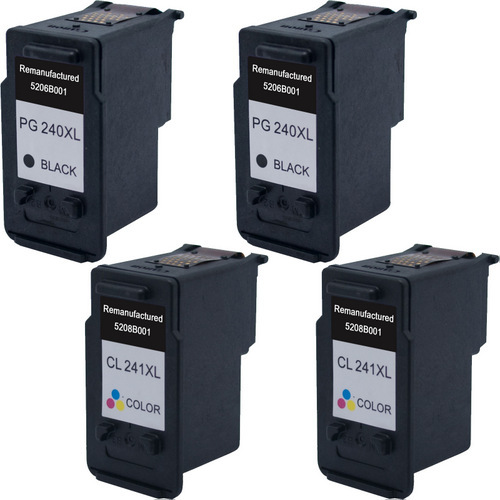 4 Pack - Remanufactured replacement for Canon PG-240XL and CL-241XL series ink cartridges